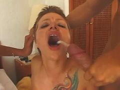 Tranny & guy cum on girl