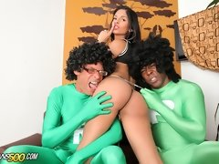Jessi Martinez is one hot tranny in distress in this hardcore threesome scene!