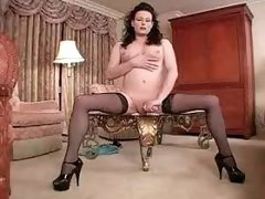 Tranny flashes yummy cock