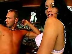 Slutty brunette ts seduces hot guy