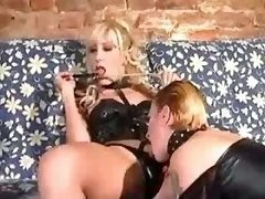 Latex TS and doll in orgy